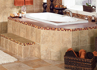 Bathtub surrounds & backsplashes bring elegance to your bathroom.  Come talk to our experts today to learn what Discount Carpet & More can do for you!